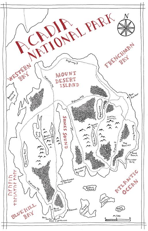 Acadia National Park Tolkien map
