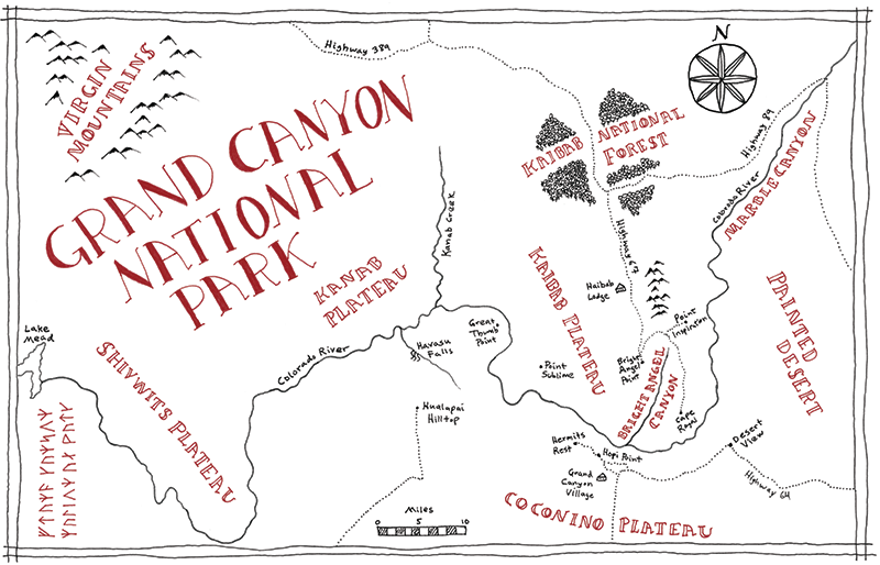 Grand Canyon National Park Tolkien map