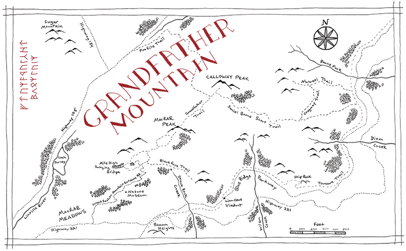 Grandfather Mountain State Park Tolkien map