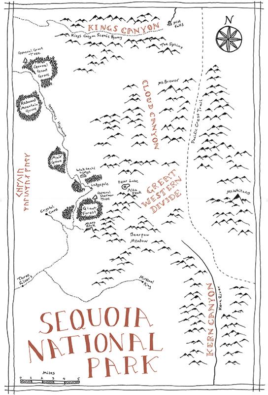 Sequoia National Park Tolkien map