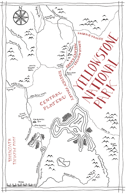 Yellowstone National Park Tolkien map