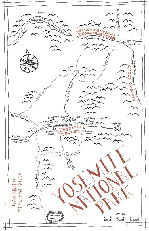 Yosemite National Park Tolkien map