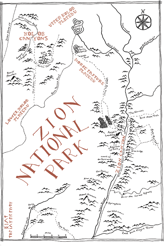Zion National Park Tolkien map