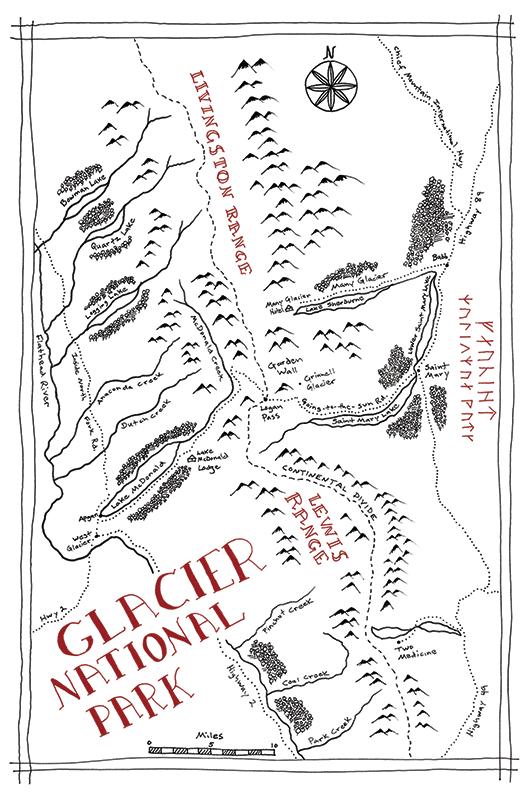 Glacier National Park Tolkien map