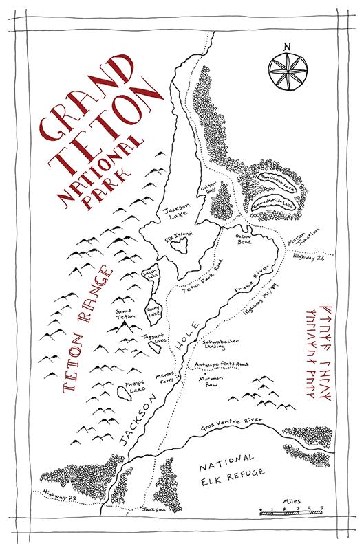 Grand Teton National Park Tolkien map