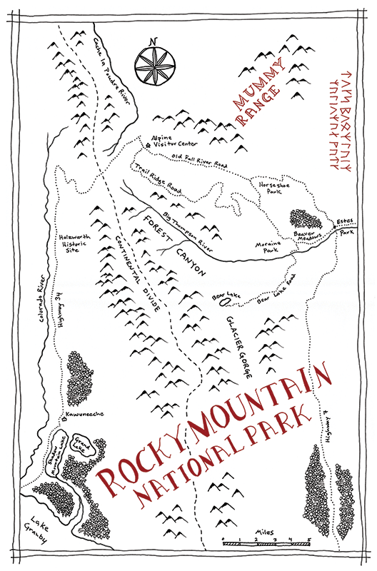 Rocky Mountain National Park Tolkien map